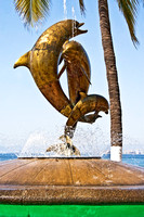 sculpture, dolphins, bronze, malecon, Puerta Vallarta, Mexico