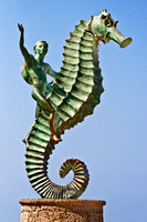 sculpture, seahorse, bronze, malecon, Puerta Vallarta, Mexico